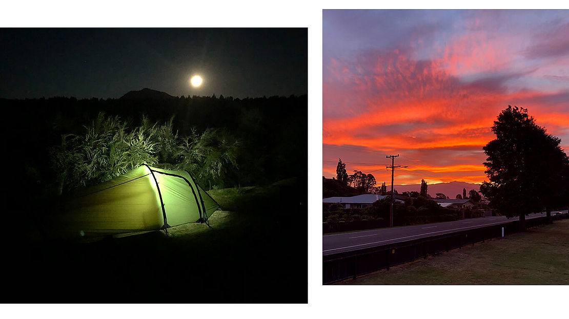 Picture of a tent in the night and a picture of a sunset