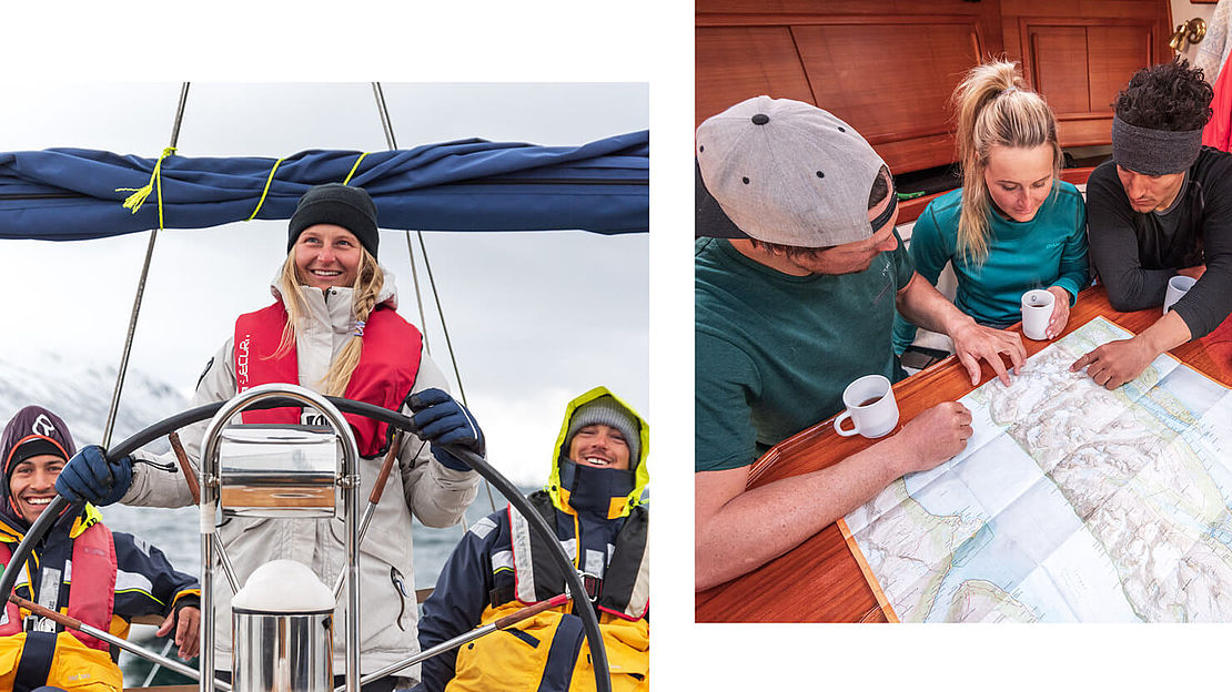 Sailing crew on deck while sailing and below deck while planning the ski tour