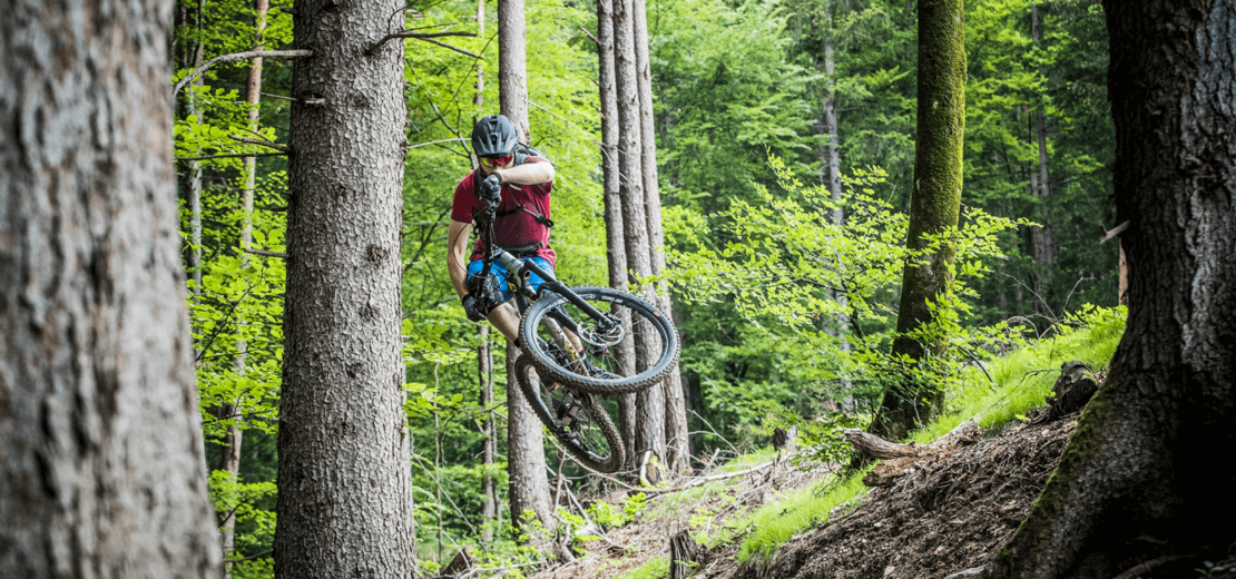 Enduro rider in the forest