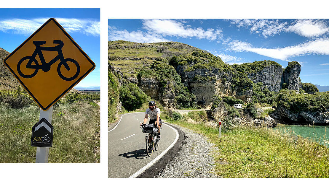 Dennis Müller cycling through landscape of New Zealand