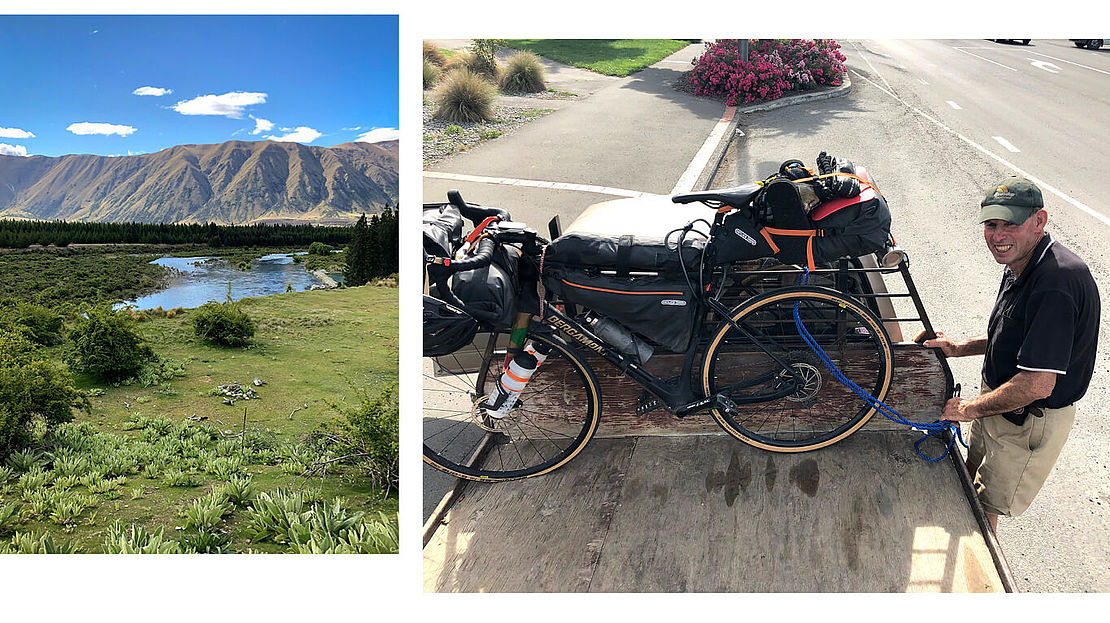 Shot of New Zealands landscape and shot of Dennis Müllers' bike on a car trailer