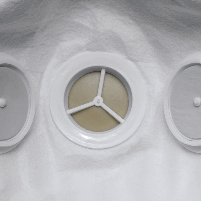 close up of dust filter on uvex mask