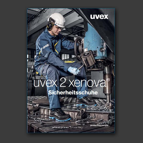 Produktübersicht zur uvex 2 xenova Serie - alle Sicherheitsschuhe in Rot, Grün und Blau.