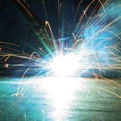 Bright welding sparks