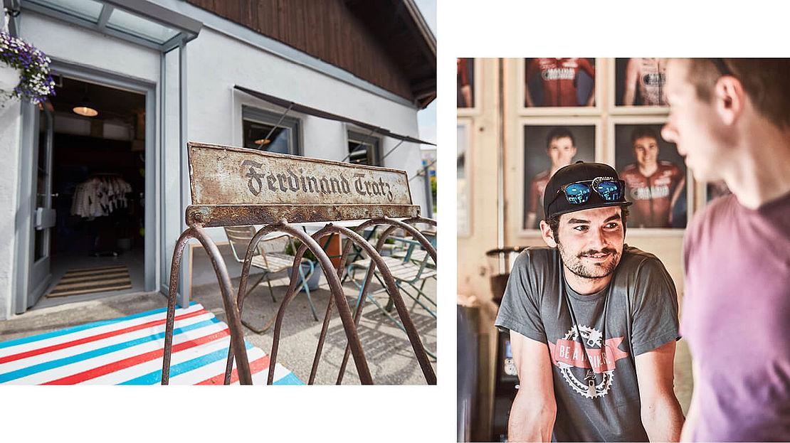 Der Eingang des Pushbiker Cafés und ein Bild eines  Pushbiker Athleten