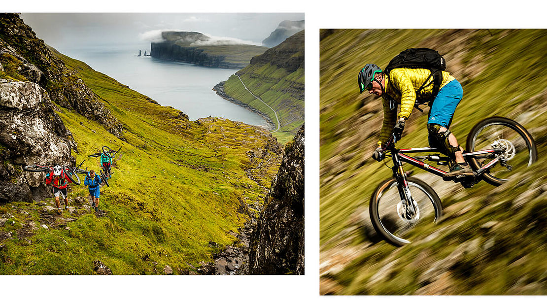 Mountainbiker on the Faroe Islands
