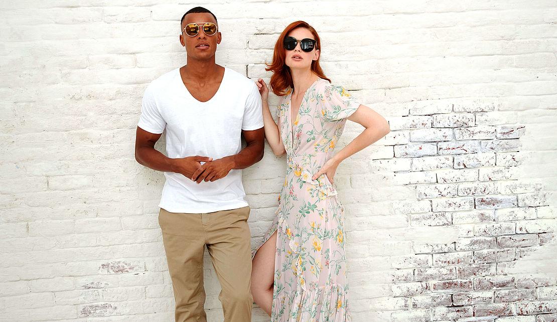 Mann mit runder Sonnenbrille 3021189 und Frau mit Cateye Sonnenbrille 3001069