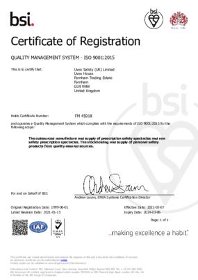 UVEX SAFETY (UK) LTD 9001-2015 certificate
