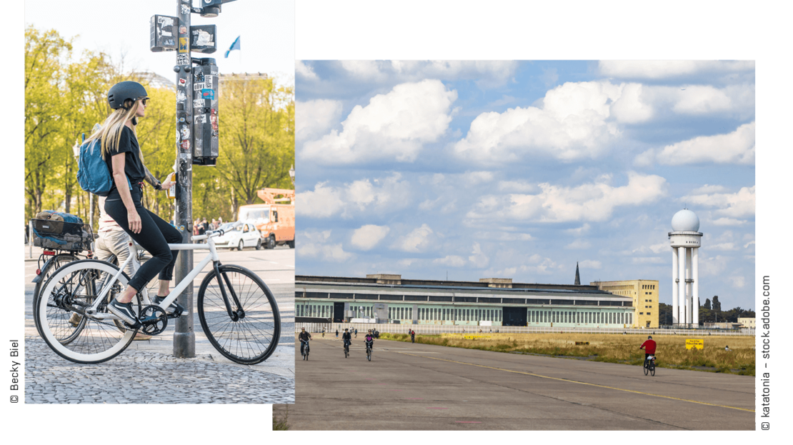 Mianzi Rei on her bike and a picture of the Tempelhofer Feld