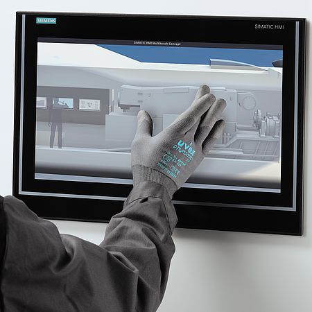 Safety gloves for operating touch displays