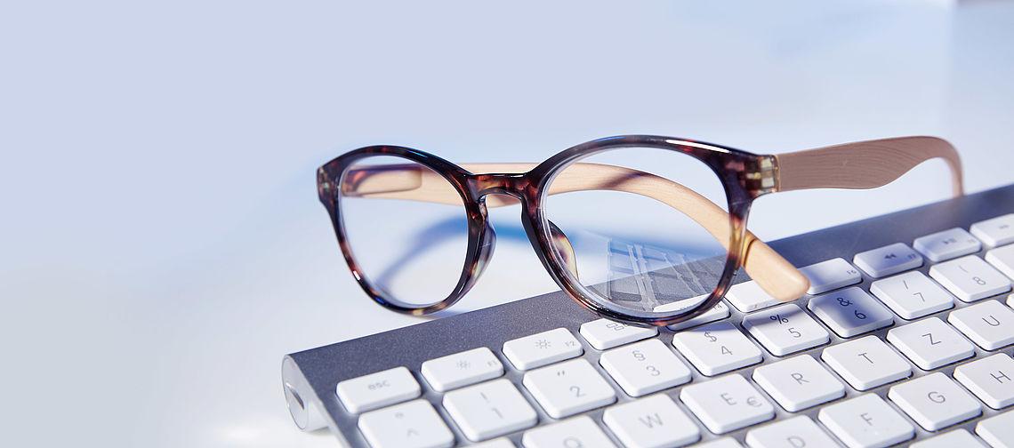 Reading glasses on keybord