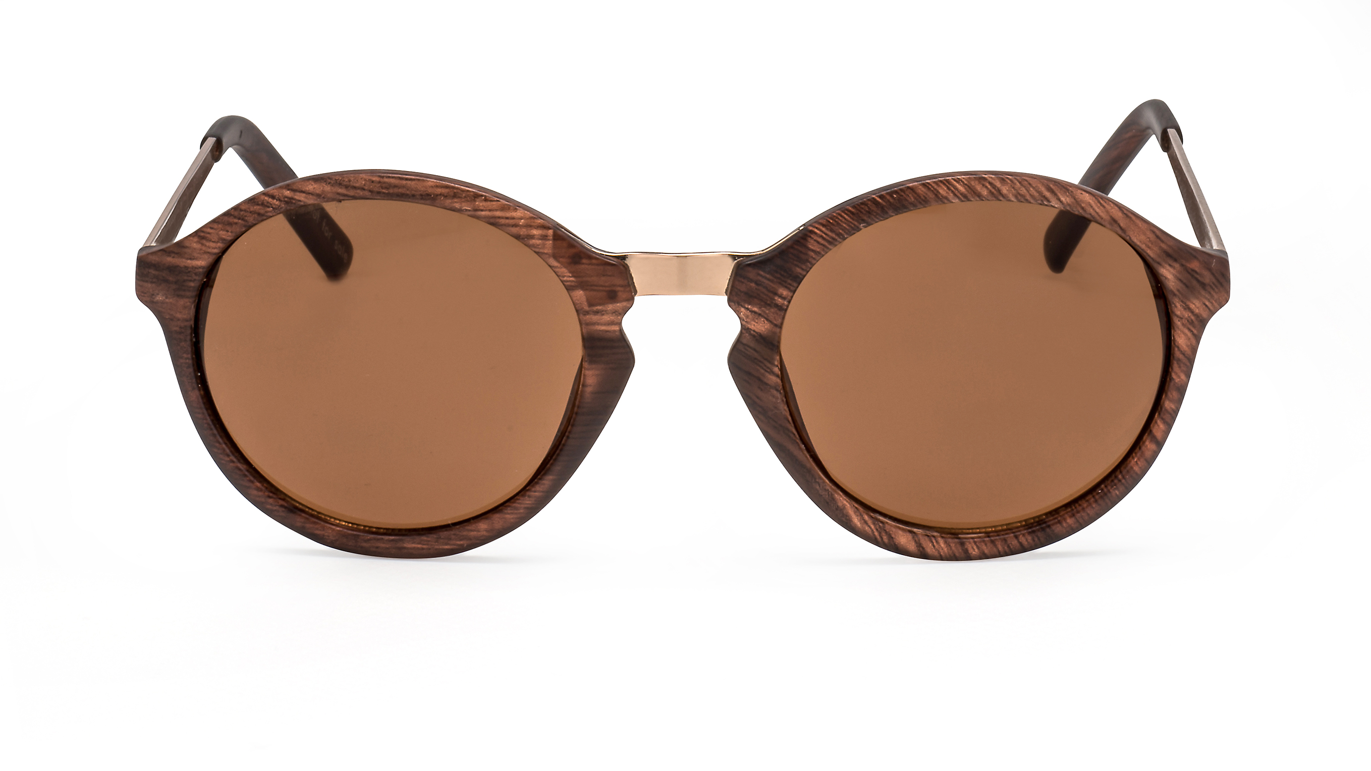 Front view round wood sunglasses F3001119