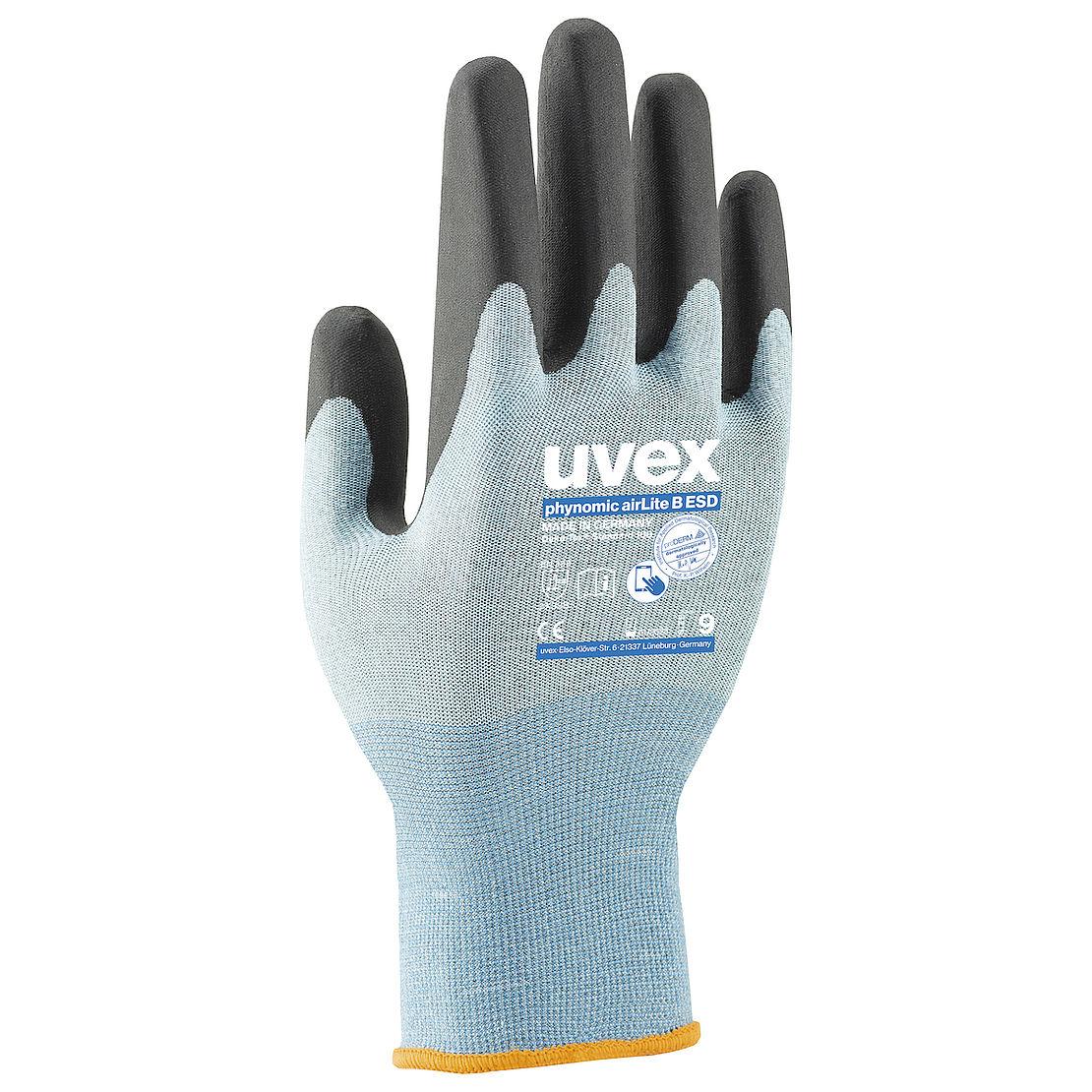 niebieskie rękawice ochronne z czarną powłoką