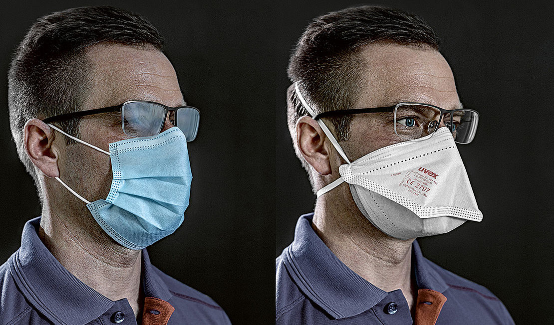 porównanie parowania okularów w tradycyjnej masce chirurgicznej, a w półmasce uvex