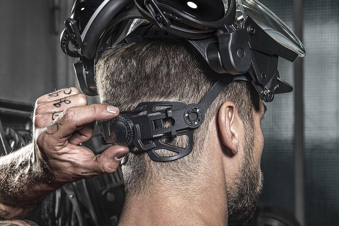 pokrętło do regulacji obwodu głowy w osłonie twarzy uvex pheos faceguard