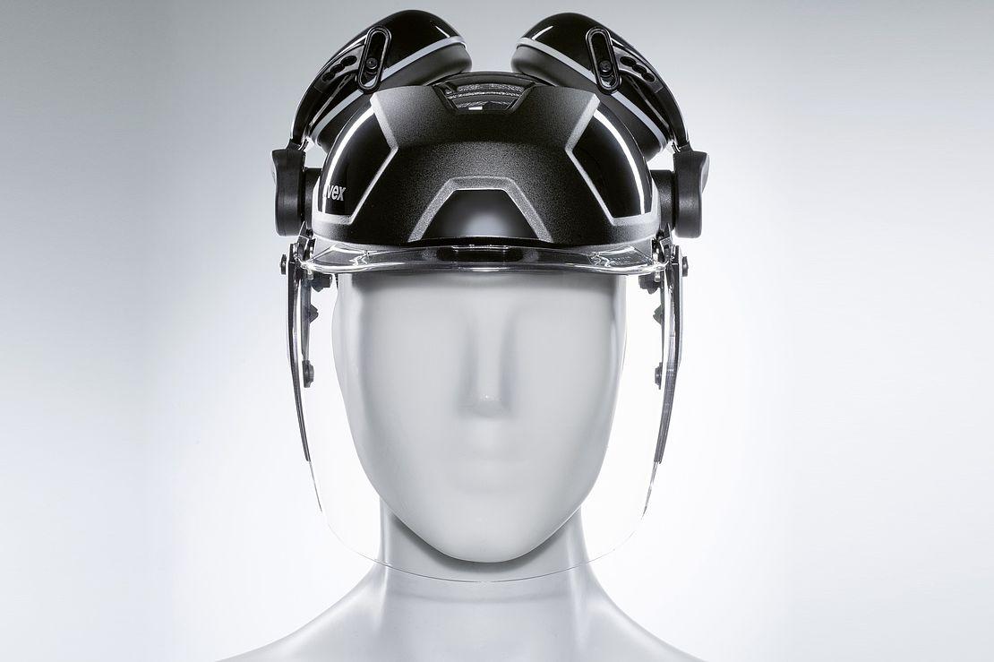 osłona twarzy uvex pheos faceguard na głowie manekina