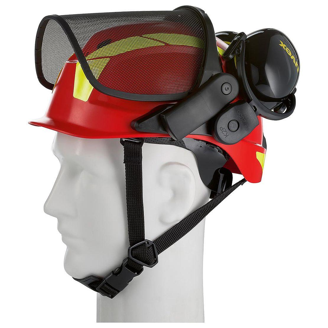 czerwony kask dla pilarzy z osłona twarzy i ochronnikami słuchu