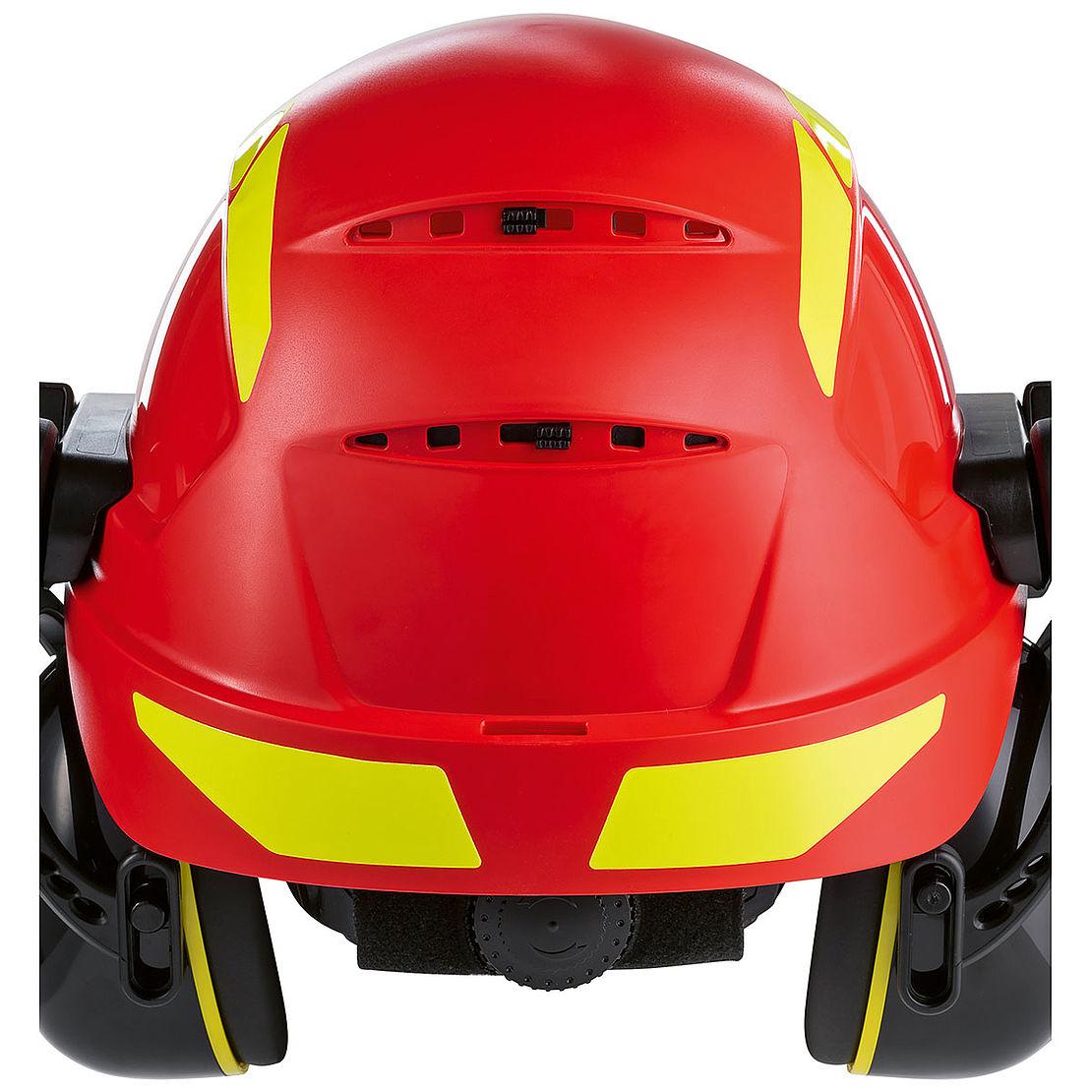 czerwony kask ochronny z wlotami powietrza