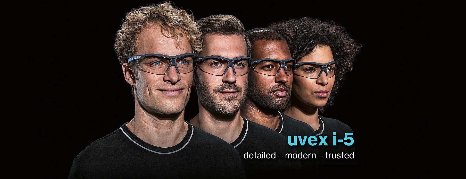 ludzie w okularach ochronnych uvex i-5