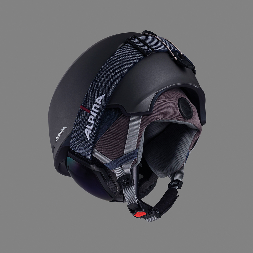 backview of a product combination of skihelmet and goggle