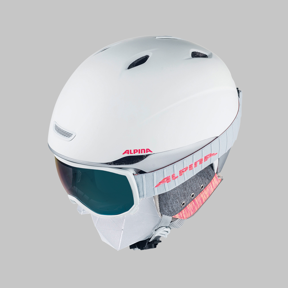 Shot of skihelmet and goggle in combination