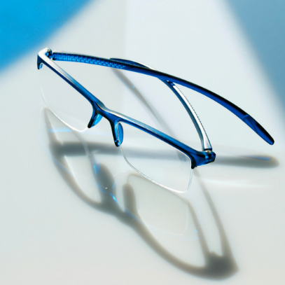 reading glasses miami blue on glass plate