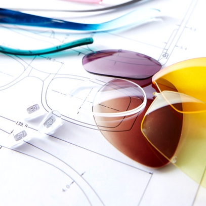 bunte brillengläser auf zeichnung