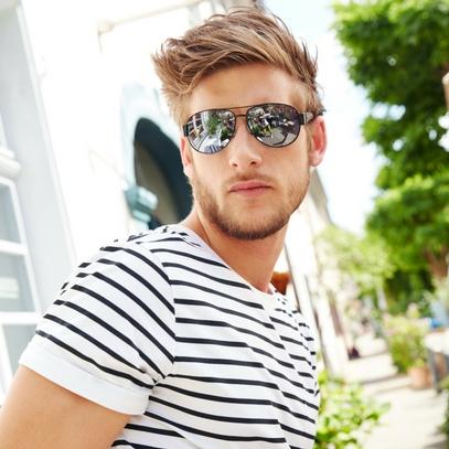 man with sporty aviator sunglasses