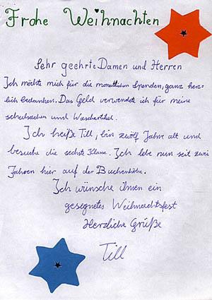Ein Dankesschreiben eines Jungen an die Rainer Winter Stiftung.