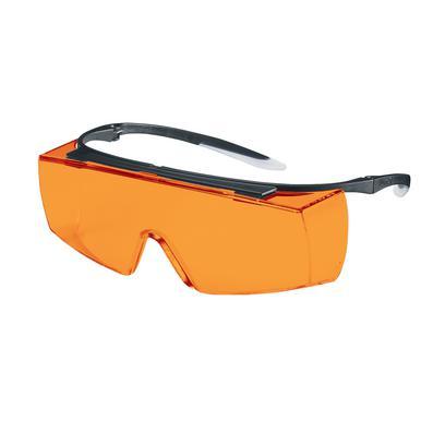 Surlunette uvex super f OTG teinte orange filtrant la lumière bleue