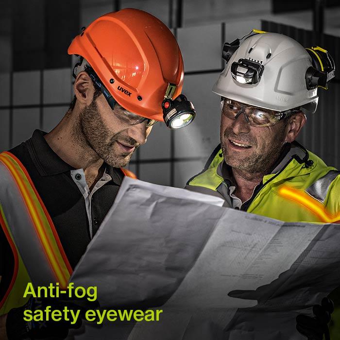 road workers wearing anti-fog eyewear from uvex