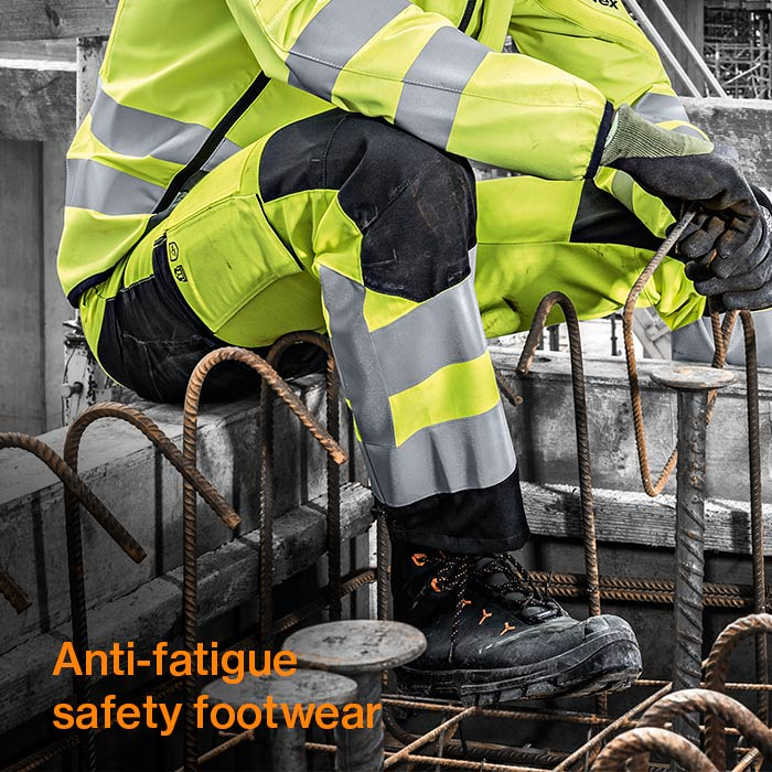 uvex 2 safety boots on a construction site