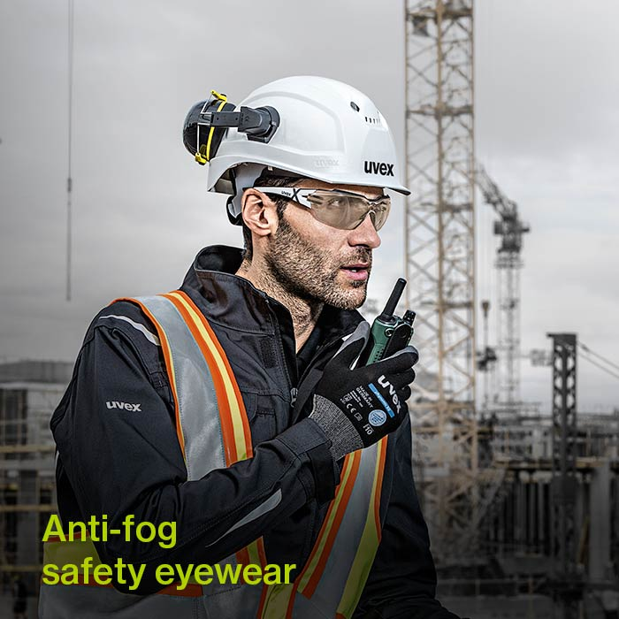 uvex CBR65 lenses on a construction worker