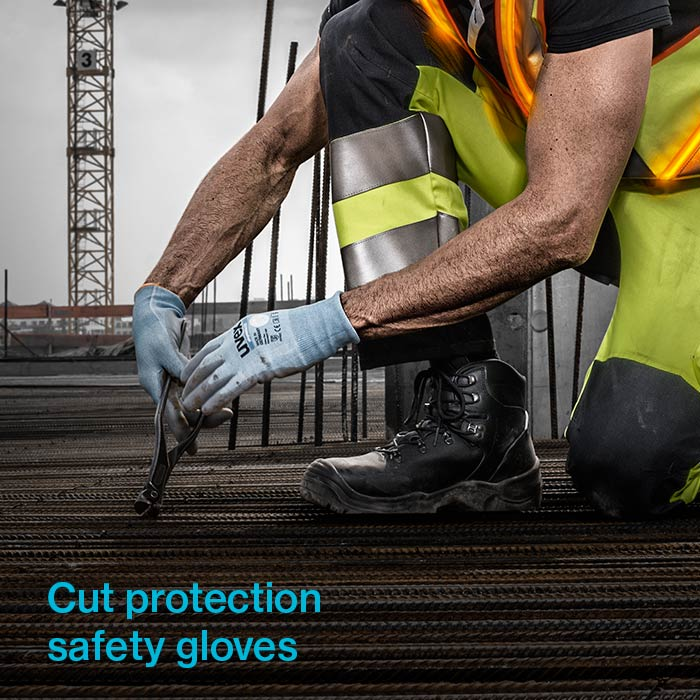 uvex cut protection gloves used on a construction site