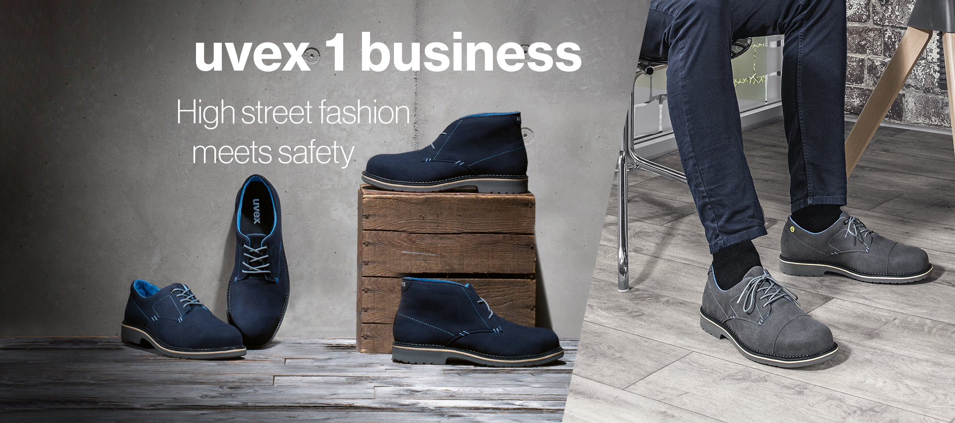 uvex 1 business styles on a concrete background