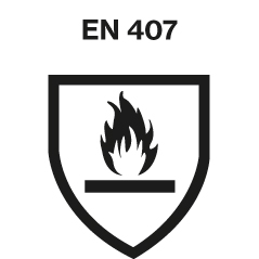 DIN EN 407 safety standards logo