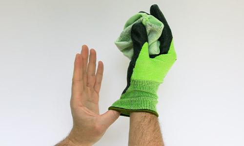 Step 4 in removing uvex gloves safely
