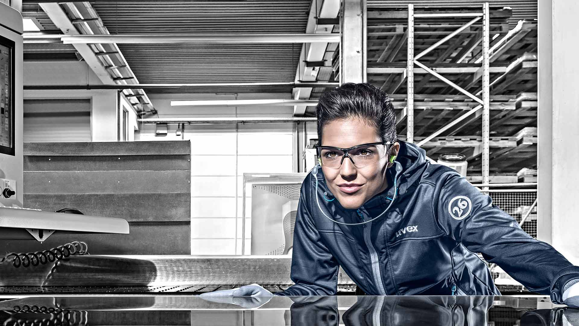 Female worker wearing uvex safety glasses