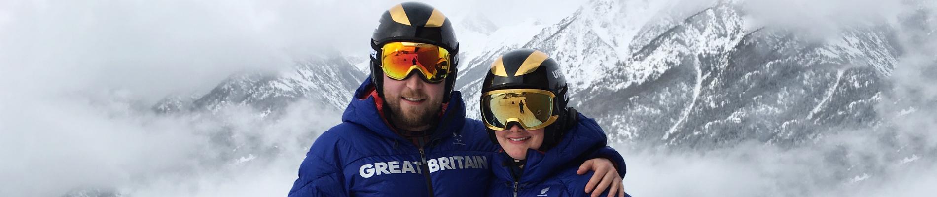 Millie Knight & Brett Wild wearing uvex helmets