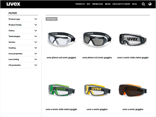 View our safety goggles range