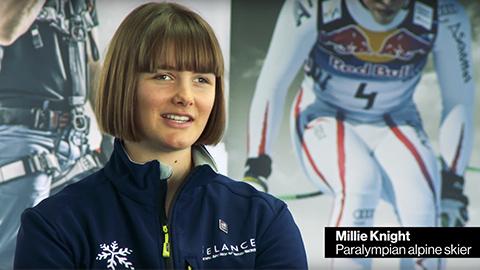 Video still of Paralympian Millie Knight talking to uvex safety
