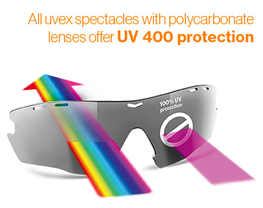 All uvex spectacles with polycarbonate lenses offer UV 400 protection