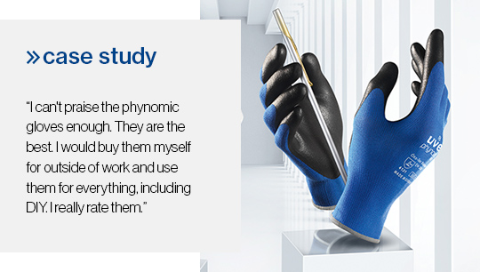 uvex phynomic wet safety glove brings great relief from dermatitis