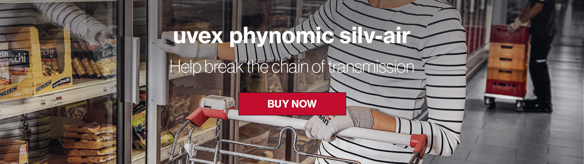 Wearing the uvex phynomic silv-air glove while shopping