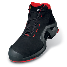 black and red uvex 1 safety boot