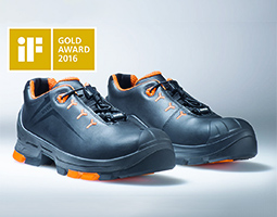 black and orange uvex 2 safety shoes with iF design logo