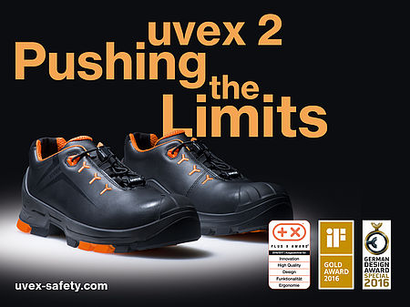 uvex 2 safety shoes with spotlight shining on them