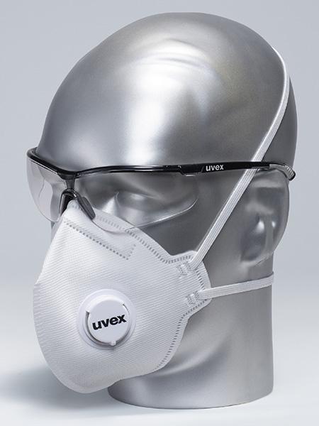 Combination options of uvex respirators and eyewear