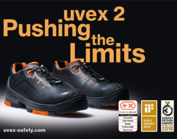 uvex 2 black and orange safety shoes with award logo