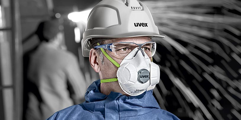 Male working wearing uvex respiratory protection